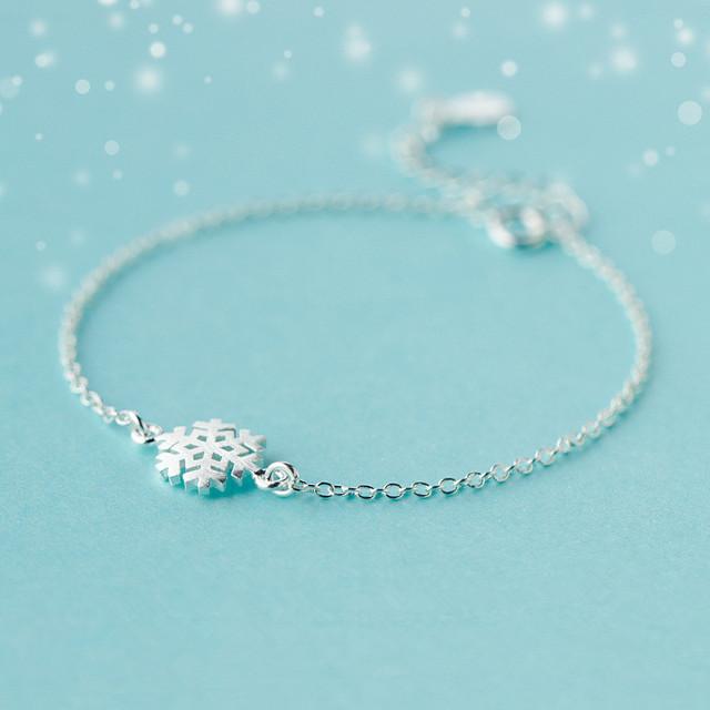 925 Sterling Silver Snowflake Charm Bracelet