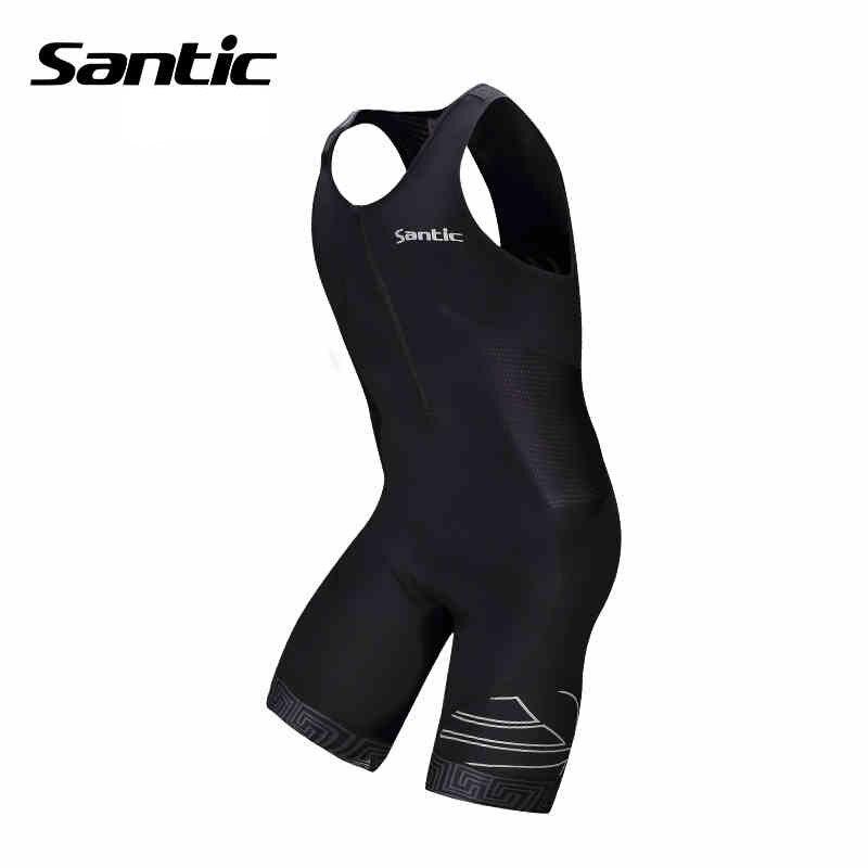 ФОТО Santic Brand Triathlon Clothing Cycling Jerseys Fitness Sleeveless Men Black Triathlon Skinsuit for Run Swim Cycle M5C03007H