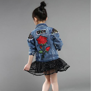 Image 5 - Vestes printemps automne en Denim pour bébés filles, manteau avec broderie de roses, collection vêtements dextérieur pour enfants