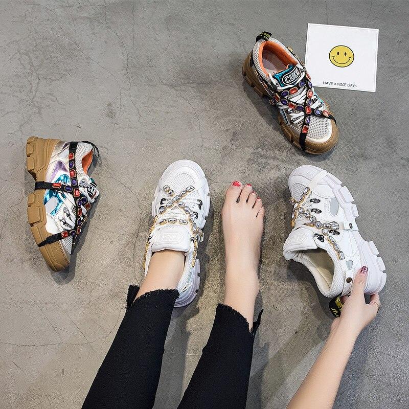2019 printemps/automne Chunky baskets femmes maille cristal chaîne plate-forme Sneaker haute qualité célèbre marque décontracté papa chaussures