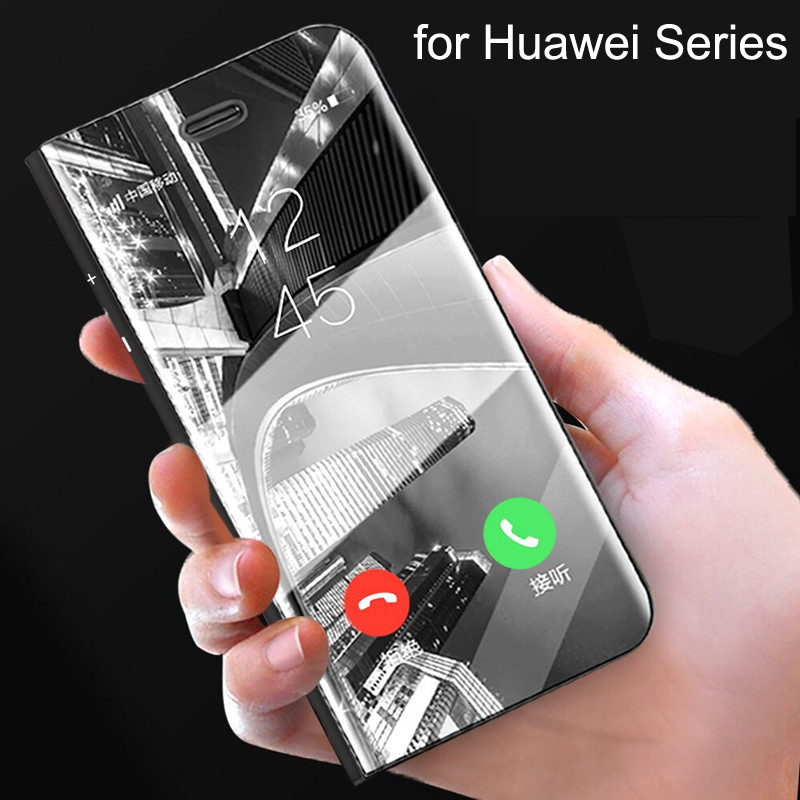US $4 69 |Mirror Flip Case For HUAWEI P20 P20 pro P20 lite HUAWEI mate10  mate10 pro Luxury Flip Stand Clear View Smart Mirror Phone Cover -in Flip