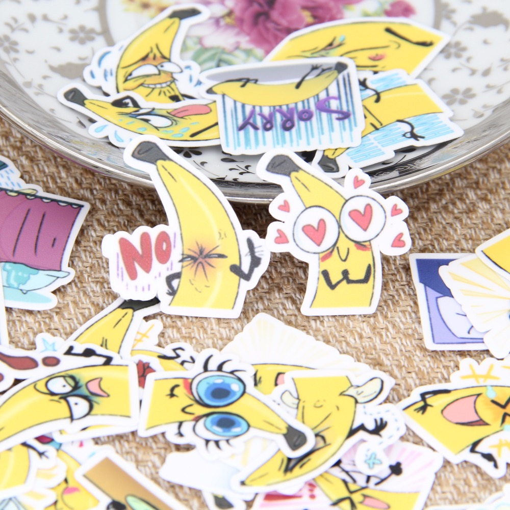 40 pcs / set Cute Little Banana Expression Homemade Scrapbooking Calendar Laptop Sticker Tags Mobile Phone Decorations Baby Girl