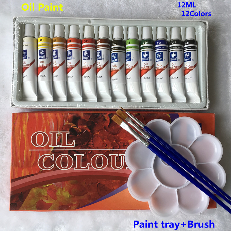 Professional Brand Oil Paint Canvas Pigment Art Paints Each Tube Drawing 12 ML 12 Colors Set Free For Brush And Paint Tray цена