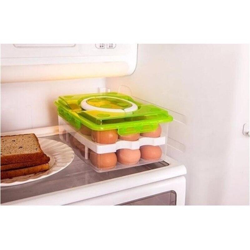 Double Layer Refrigerator 24 Eggs Holder Airtight Storage Container Plastic Box(24.4*16*10.5Cm)