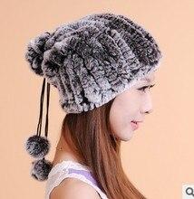 Conejo Sombreros de Las Mujeres Beanie Cap100 % Real Engrosamiento de Pelo de Conejo Bola de la Piel del Invierno de Las Mujeres Adornó Fur Hats Envío gratis CP029