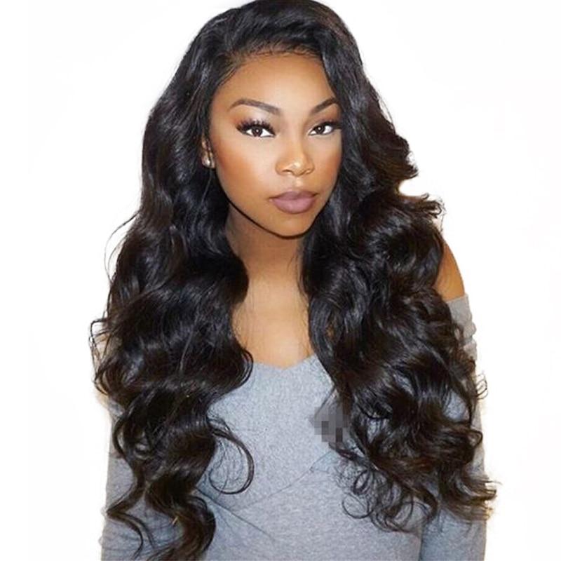 Синтетические волосы на кружеве натуральные волосы парики для женский, черный объемная волна 13X4 шнурка Полный толщиной 250 плотность бразил...