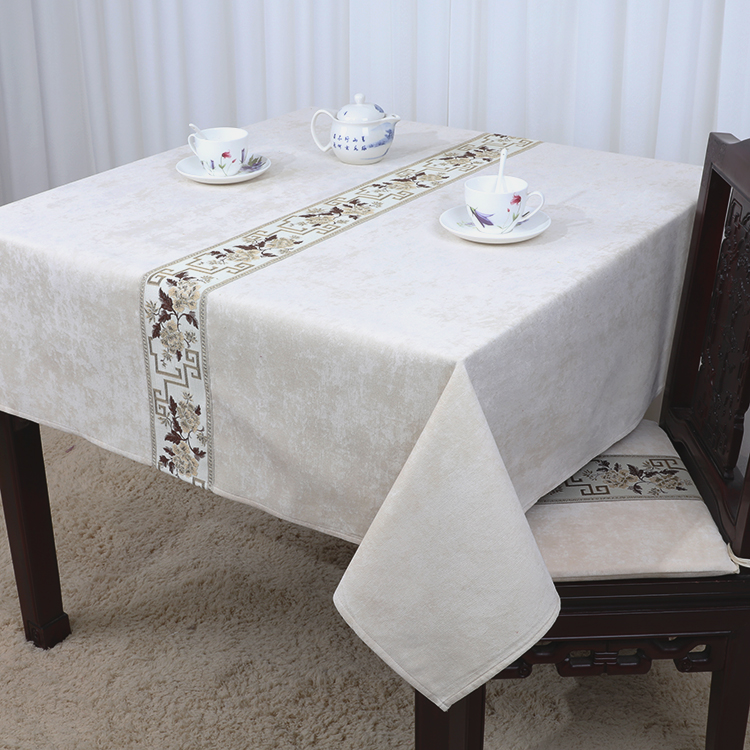 Latest Patchwork Geometric Lace Table Cloth Velvet Fabric Waterproof  Oilproof Table Cover Luxury Europe Style Dining