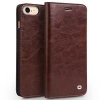 QIALINO for iPhone 5 SE 5s 6 6s Plus 7 7 Plus 8 8 Plus X 10 Case Coque Classic Luxury Genuine Wallet Leather Flip Case Cover