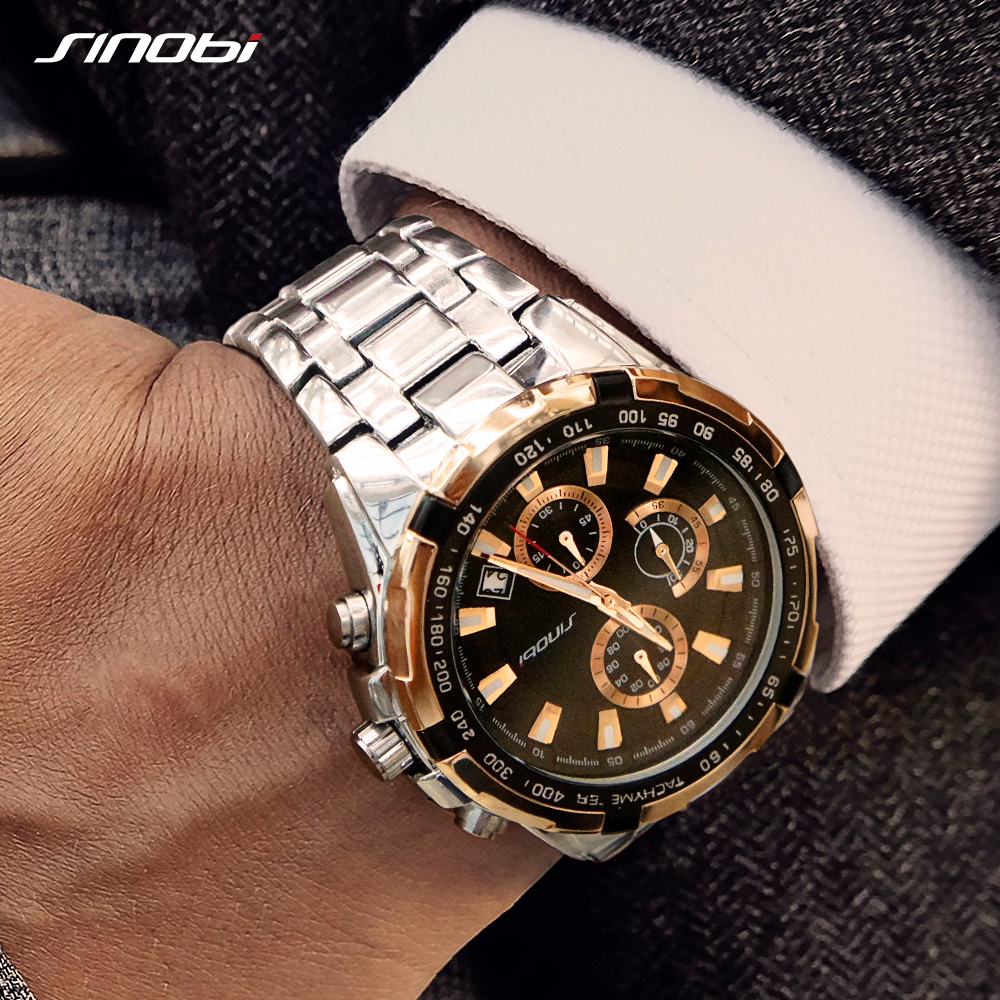 Sinobi Men's Business Gold Chronograph Watch Waterproof Top Band Quartz Wristwatches Sports Watch Rolexable Relogio Masculino 19