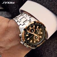 Sinobi Men's Business Gold Chronograph Watch Waterproof Top Band Quartz Wristwatches Sports Watch Rolexable Relogio Masculino 19