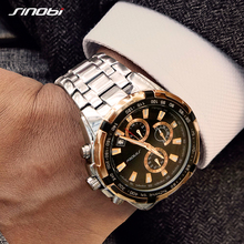 Sinobi رجال الأعمال الذهبي ساعة كرونوغراف مقاوم للماء باند الأعلى كوارتز ساعات المعصم الساعات الرياضية Relogio Masculino 2020
