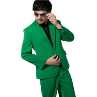 Custom Made Groomsmen Notch Lapel Groom Tuxedos Green Mens Suits Wedding Best Man one buttons Suit Jacket+Pants