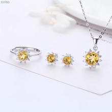 fashionable 925 sterling silver natural yellow crystal amethyst earring necklace pendant ring jewelry set for women