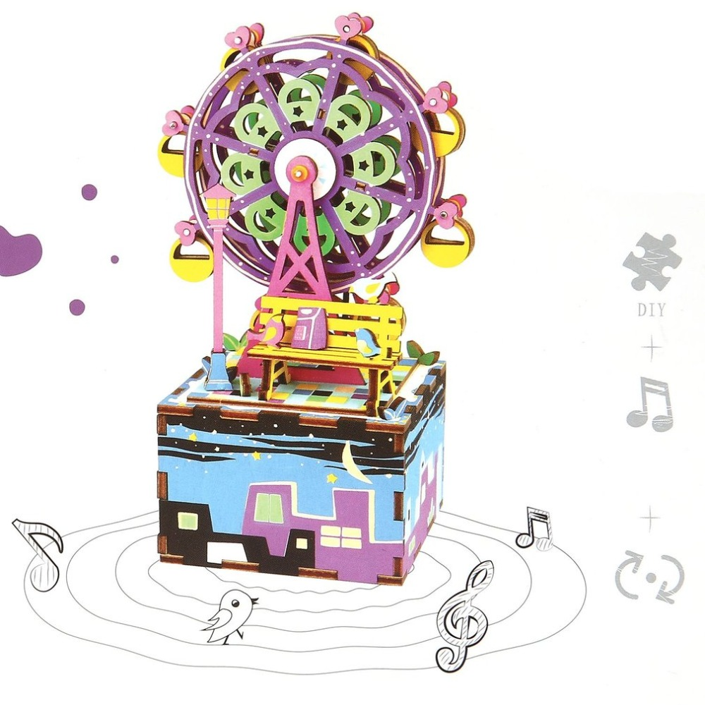 Robotime New Arrival DIY Cartoon Wooden Movable Music Box Clockwork Type Home Decor Beauty Gifts For Children Friends ABS