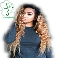 Мода Новый 7а 100 виргинский бразильский полный шнурок человеческие волосы кудрявые парики ombre черного до блондинка два тона передний парик шнурка с темно корень