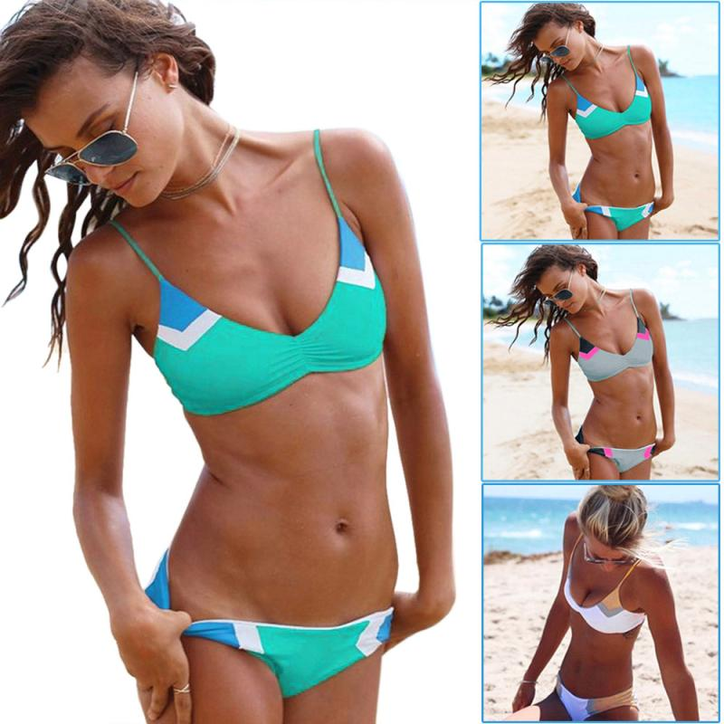 Womail Swimwear Women 2018 Sexy Patchwork Bikini Set Swimsuit Push Up Padded Bra swiming suit maio feminino praia 3 Colors #1809