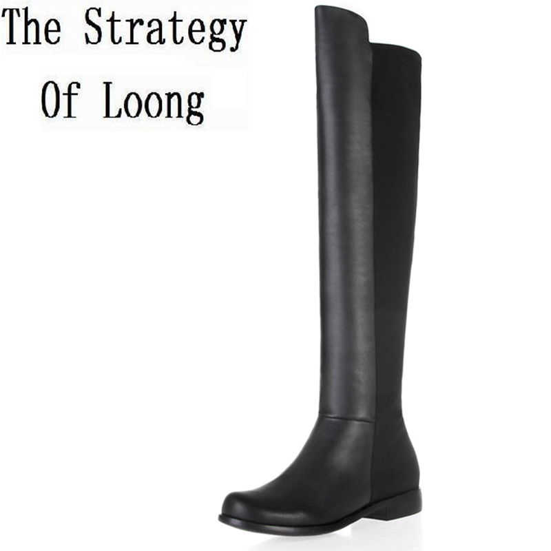 Women Winter Genuine Leather Flat Heel Round Toe Patchwork Fashion Over The Knee Boots Plus Size 34-45 SXQ1007 women winter genuine leather thick high heel side zipper round toe fashion mid half boots plus size 34 45 sxq1007