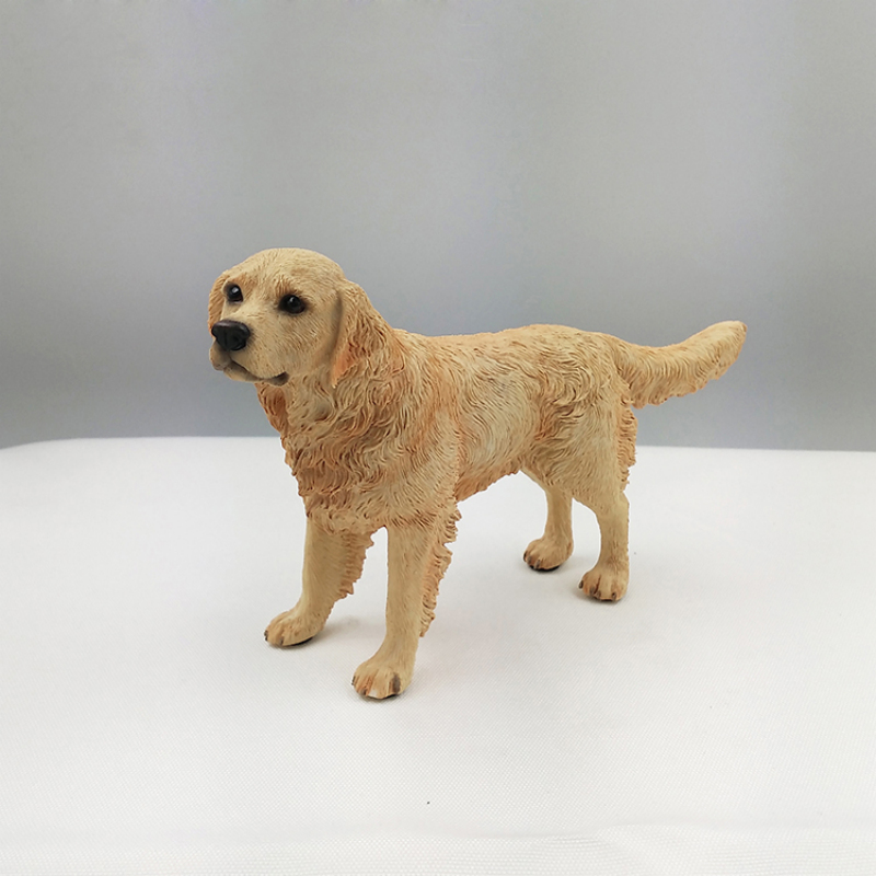 Hot sale Home Accessries Resin Crafts Decorative Standing Golden Retriever For Collection