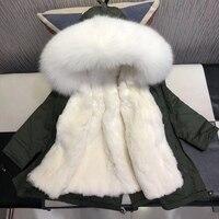 Зимние куртки с натуральным мехом дети утолщаются Теплая парка для детей Зимний комбинезон для девочек реального кролика рекс Куртки с кап