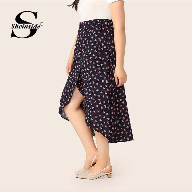 Sheinside Plus Size Heart Print Wrap Skirt Women 2019 Spring Boho Side Split A Line Skirts Ladies Casual Belted Skirt 3