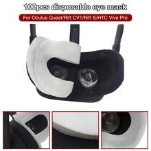 100Pcs Disposable VR Eye Mask Breathable Pure Cotton Sweat Absorbent Face for Oculus Quest/Rift CV1/Rift S/HTC Vive Pro