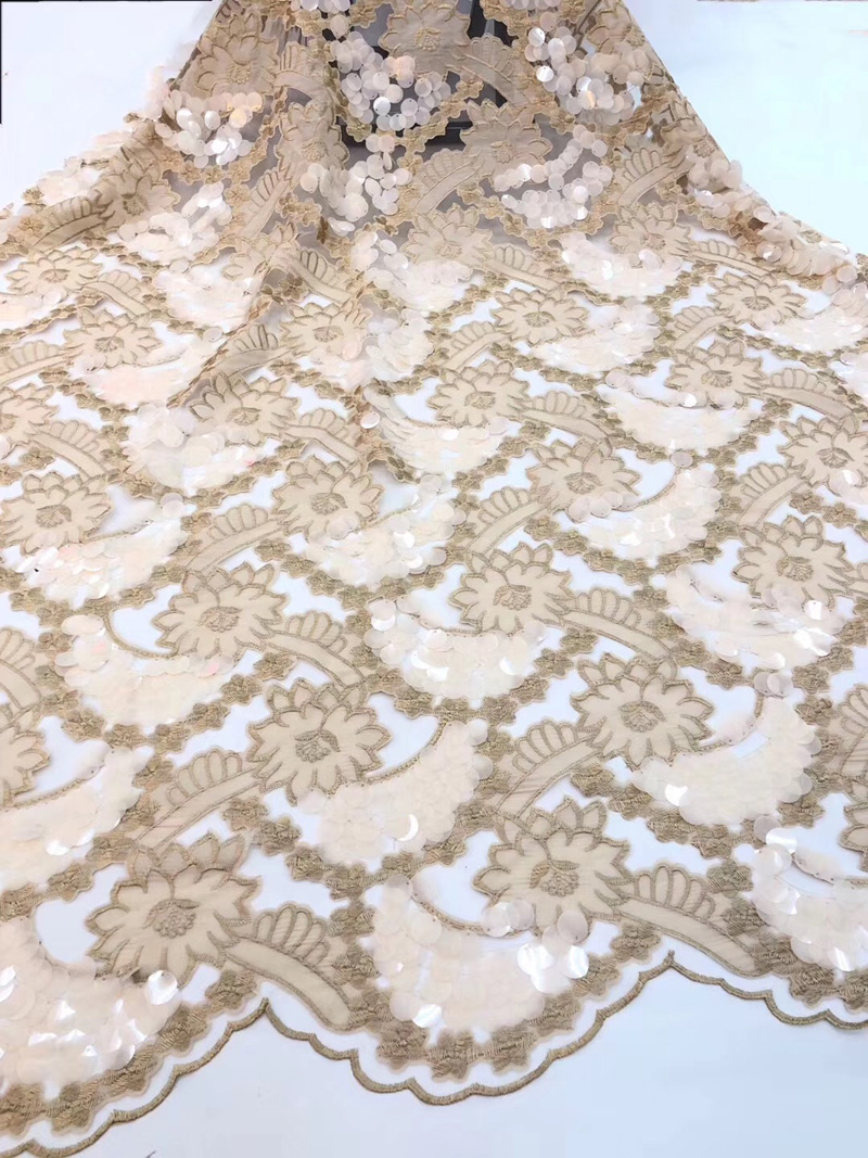 (5yards/pc) fashion laser cut embroidered African tulle lace gold French lace fabric with big sequins for party dress FZZ055(5yards/pc) fashion laser cut embroidered African tulle lace gold French lace fabric with big sequins for party dress FZZ055