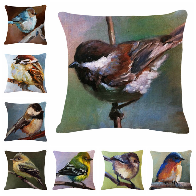 2018 The Latest Summer Animal Bird Cage Painting Art Pattern Linen Cotton Material Cushion Cover Sofa Decorative Pillow Coves