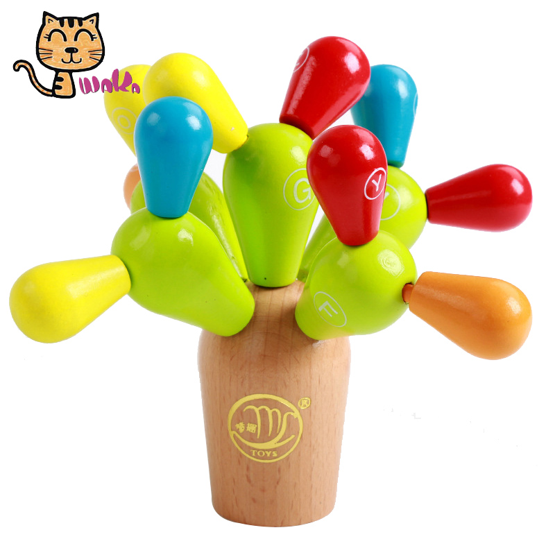 Funny Wooden Blocks Wooden Balancing Cactus Building Toys Mosaic Blocks Games For Kids Toddler Wooden Cactus Blocks Children Toy pizza balance game pile up balancing desktop toy pretend play food small family plastic building blocks toys for children