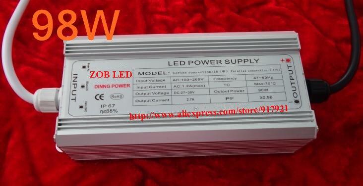 98 Вт светодиодный драйвер, DC54V, 2.1A, высокой мощности Светодиодный драйвер для прожектор/уличного света, IP65, постоянный ток питания привода