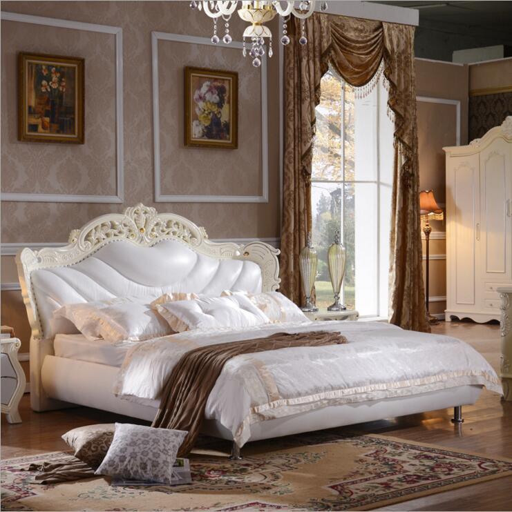 Haute qualité usine prix royal grand roi taille Véritable cuir souple lit mobilier de chambre lit douillet o1214