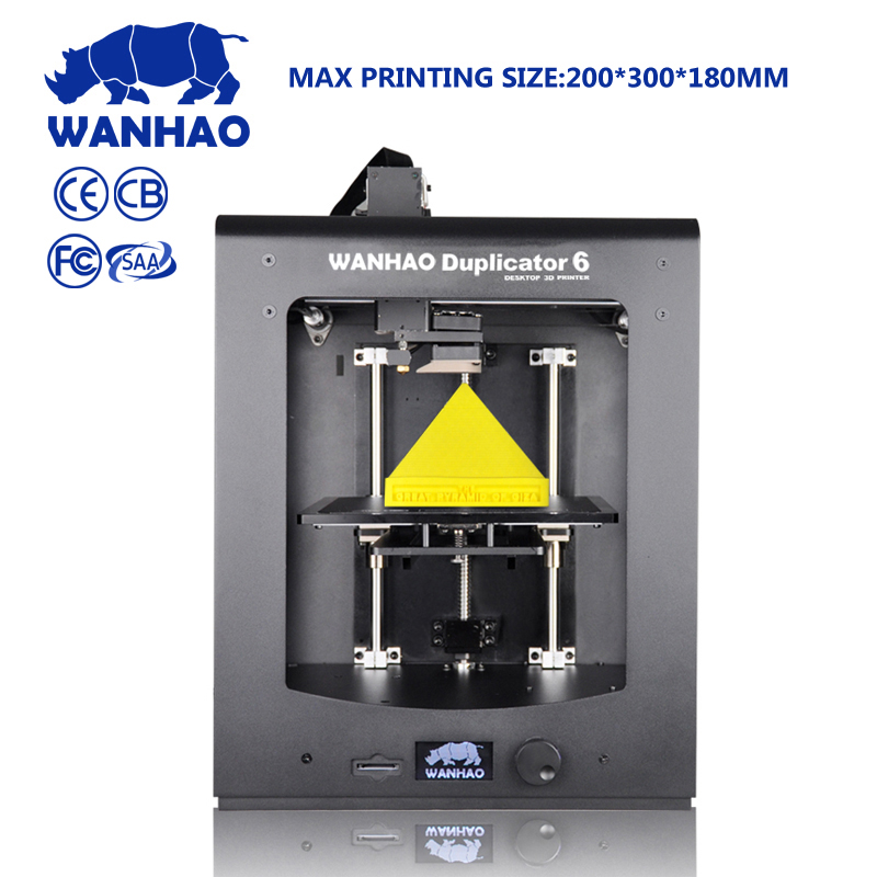 2016 New D6 FFF technology auto leveling Wanhao 3d Printer DIY High Precision Reprap Big print size 200*200*180mm more gift fff fff free for fever