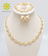 Free Shipping Gold Color Jewelry Sets For Wedding Fashion African Women Elegant Costume Necklace Sets