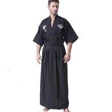 Черный классический японский брикет мужской кимоно воина с Оби