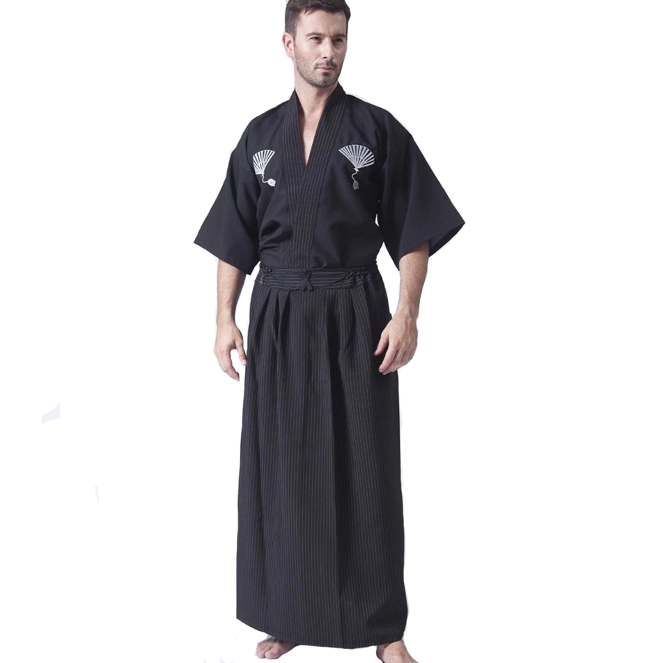 Black Classic Japanese Samurai Clothing Men's Warrior Kimono With Obi Traditional Yukata Haori Halloween Costume One Size B-067