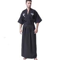 Black Classic Japanese Samurai Clothing Men's Warrior Kimono With Obi Traditional Yukata Haori Halloween Costume One Size B 067