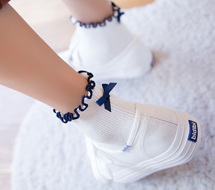 Summer Funny cotton After The Heel Ribbon Bow Short   Socks   Wild Chaussette Female Herring Ankle   Socks   Color white yellow red wine