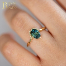 BOAKO Dainty Zircon Rings For Women Gem Stone Ring Wedding Party Jewelry Vintage Green anillos Coroa Girl Z5