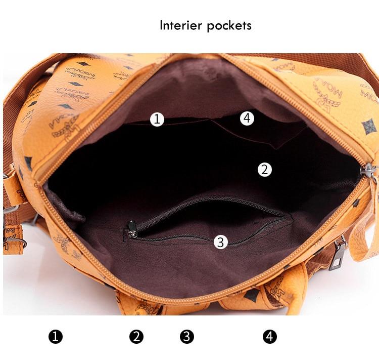 Women Fashion PU Backpack Girls Soft Leather Printed Shoulder Bag Ladies large fashion female Bagpacks for School Teenager Brown (9)