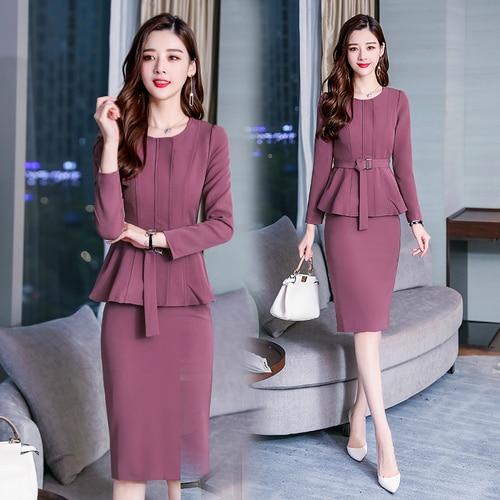 Pure Colour Sashes Office Lady Skirt Set Temperament Fashion Ensemble Femme Deux Pieces Generous Elegant Costumes For Women