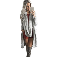 Gray Cardigan Knitted Sweater Women Autumn Winter 2016 Scarf Long Knitwear Outwear Casual Thick Jumper Basic Pull Outerwear