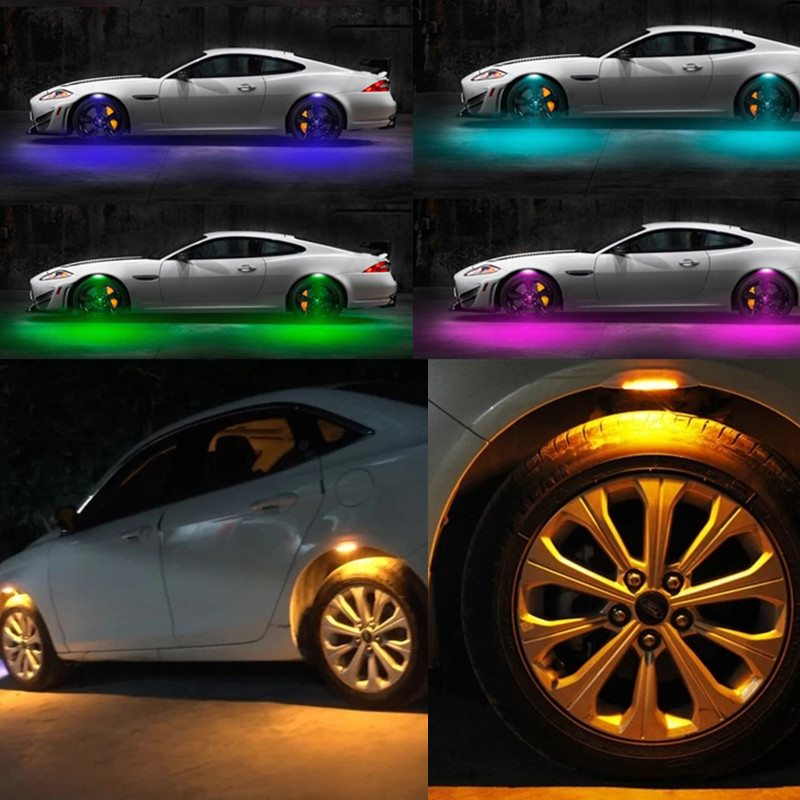 4pc Flash Car wheel Eyebrow Lights 3 Mode Exterior ambience lights Atmosphere Lamps Universal Car Tyre Wheel LED Car styling in Car Light Assembly from Automobiles Motorcycles