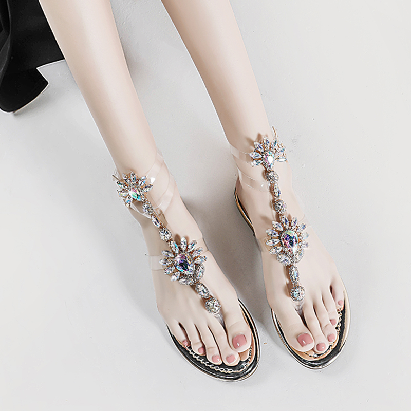 Bling Bling T-Strap Woman Sandals Rhinestones Chains Summer Sandals T-Strap Comfortable Platform Crystal Sandals Sandalias Mujer