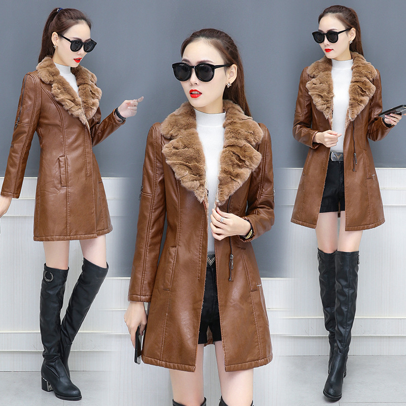 Faux   leather   jackets women winter new fashion ladies   leather   plus velvet thick coat slim fur collar stitching PU   leather   jacket