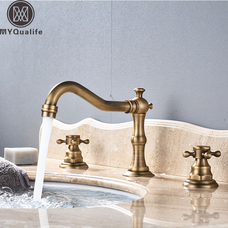 Antique Brass Deck Mounted Basin Faucet Widespread Bathroom Sink Washing Tap Dual Handle 3 Holes Basin Mixer Tap antique brass three holes bathroom sink basin faucet mixer tap dual handle