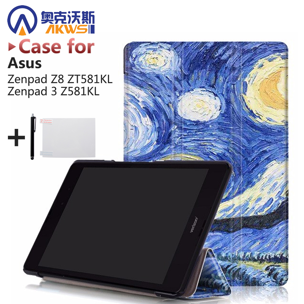Folio Premium PU leather smart triangle stand slim cover case  for 2016 Asus Zenpad Z8 7.9 ZT581KL(Zenpad 3 8.0 Z581KL)+gifts apart pm1122w беспроводная панель управления белого цвета для предусилителя pm1122