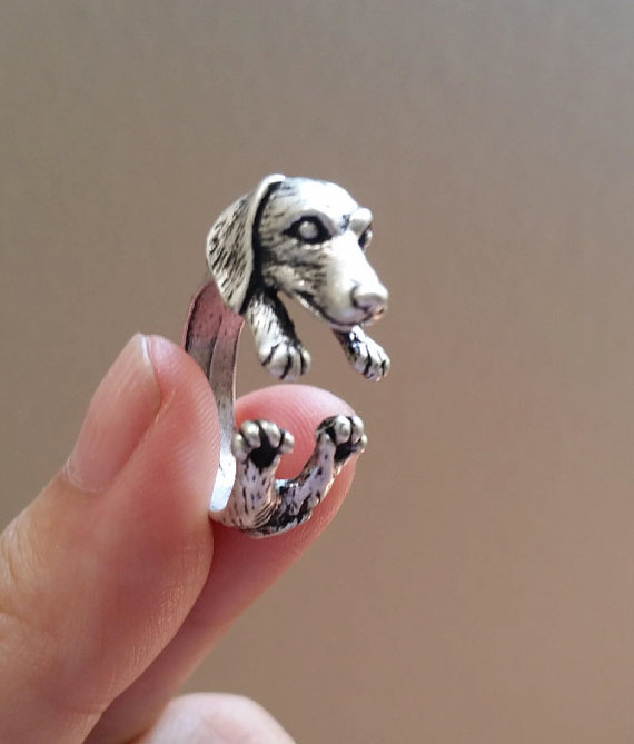 Handmade Jewelry Dachshund Ring Retro Jewelry Free size Animal Wrap Dog Rings Fashion Bijoux For Men Women Birthdays