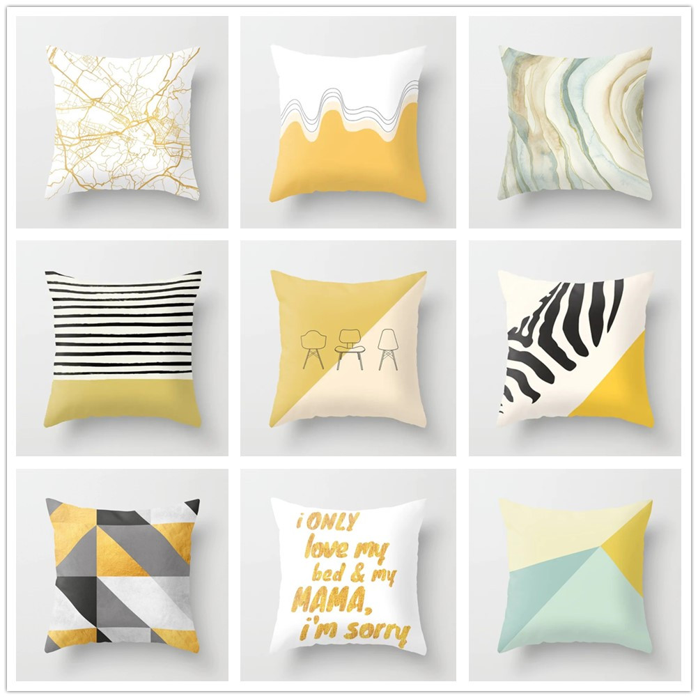 Pillow Case Flamingo Feather Balloons Geometric Nordic Cushion Cover Room Decor