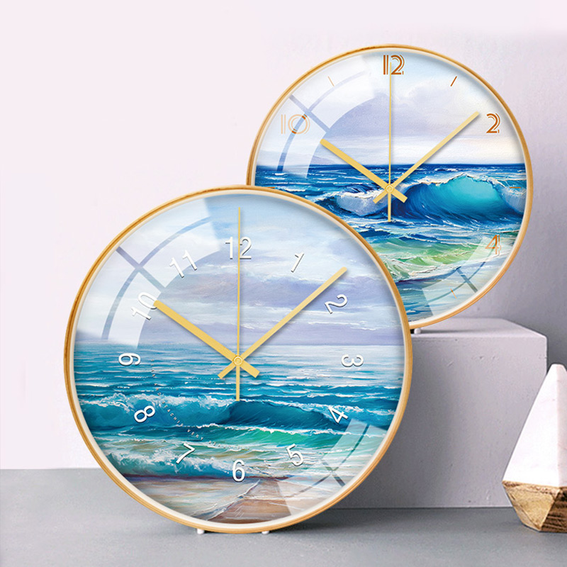 Beach wave landscape oil painting art decoration wall clock wooden frame mounted modern quiet scanning personality wall clocO304