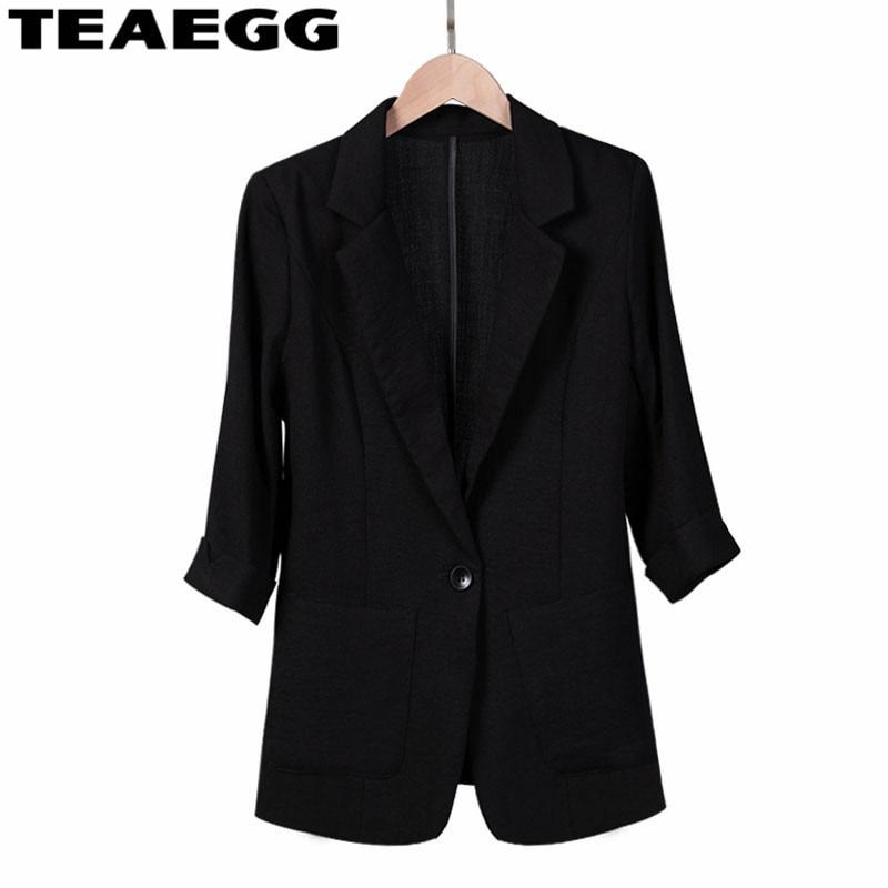 TEAEGG Linen Black Spring Summer Blazer Woman Slim Short Suit Jacket Coat Jaquetas Femininas Ladies Blazers Plus Size AL1244