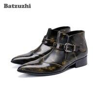 Batzuzhi Western Cowboy Men Boots Ankle Pointed Toe Bronze Leather Boots Botas Militares Botas Hombre Work Shoes, Pluz Size 46